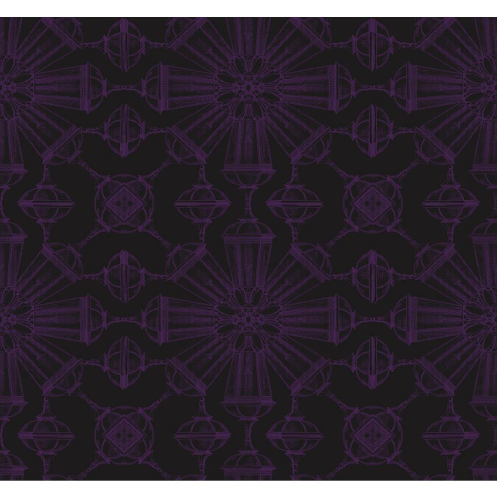 Divine Jet Black and Metallic Purple Goblet Wallpaper