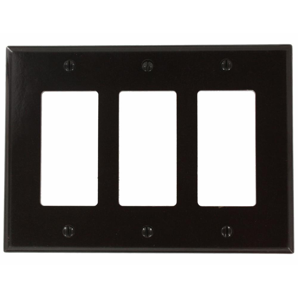Brown 3-Gang Decorator/Rocker Wall Plate (1-Pack)