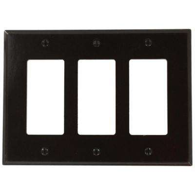 3-Gang Decora Midway Wall Plate, Brown