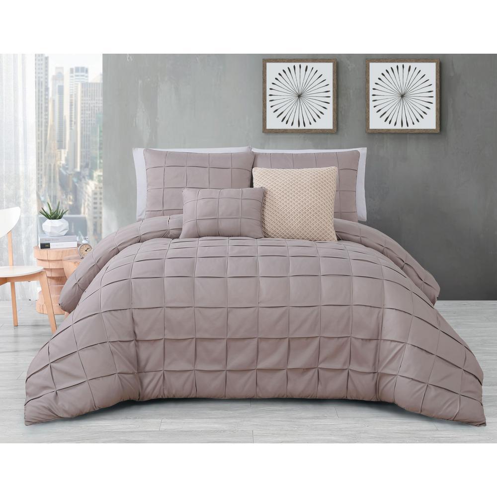 Geneva Home Fashion Madison 5 Piece Taupe King Comforter Set