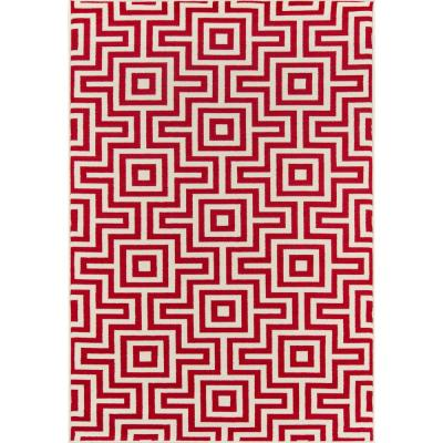 Baja Retro Red 5 ft. 3 in. x 7 ft. 6 in. Indoor/Outdoor Area Rug