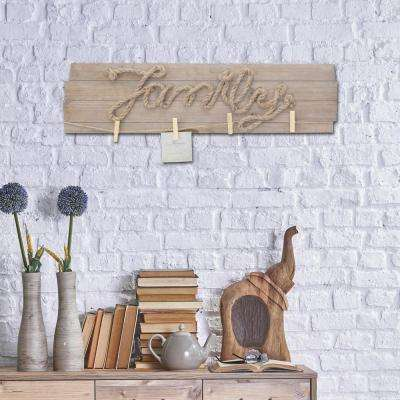 30 in. x 8 in. Brown Wooden Family Wall Decor with Metal Clips