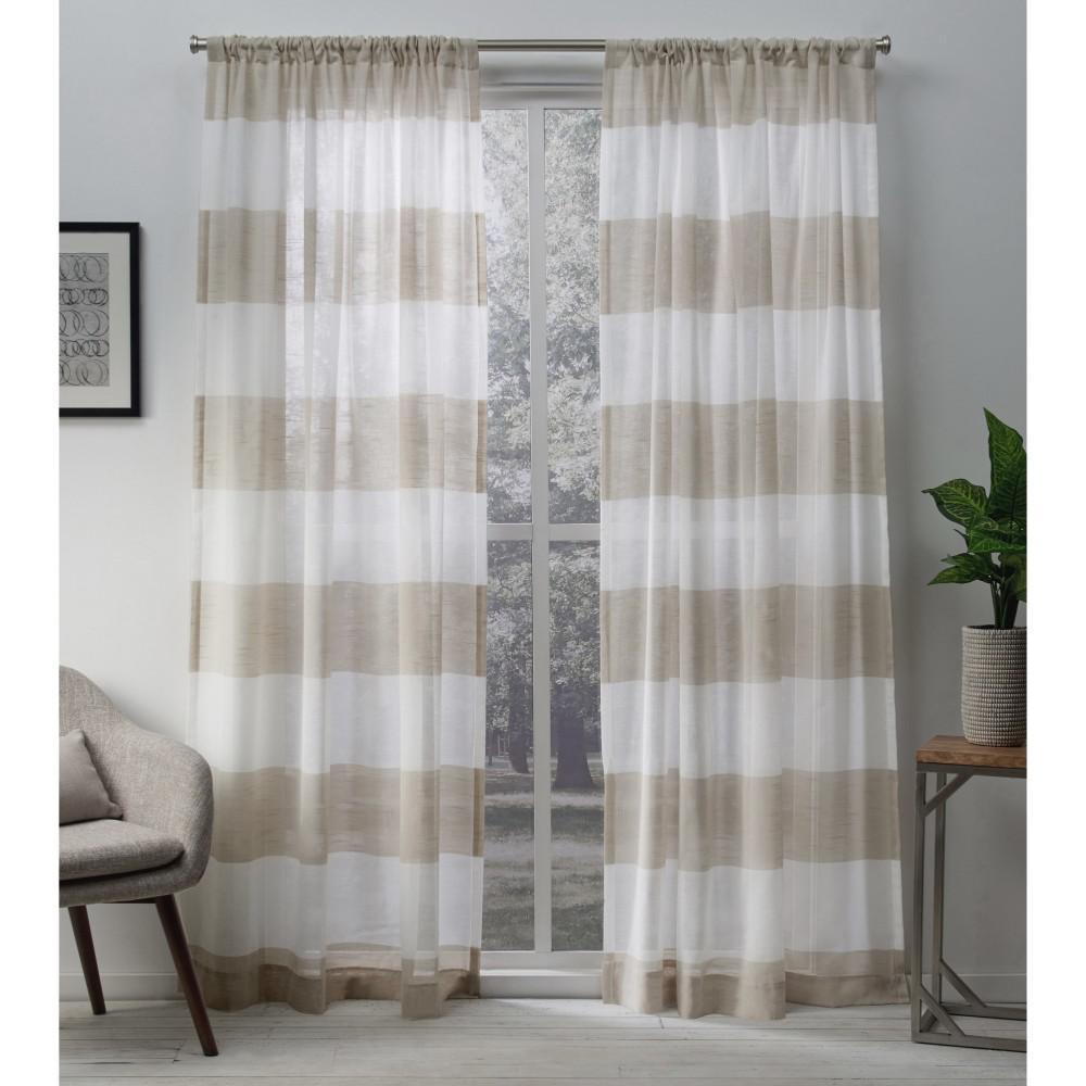 Darma 50 in. W x 84 in. L Sheer Rod Pocket Top Curtain Panel in Linen (2 Panels)