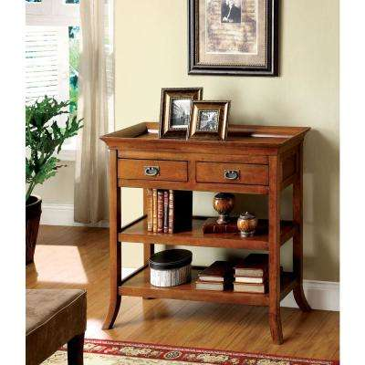 Wickenburg Medium Oak Finish Side Table with Drawers and Open Shelves and Tray Style Table Top