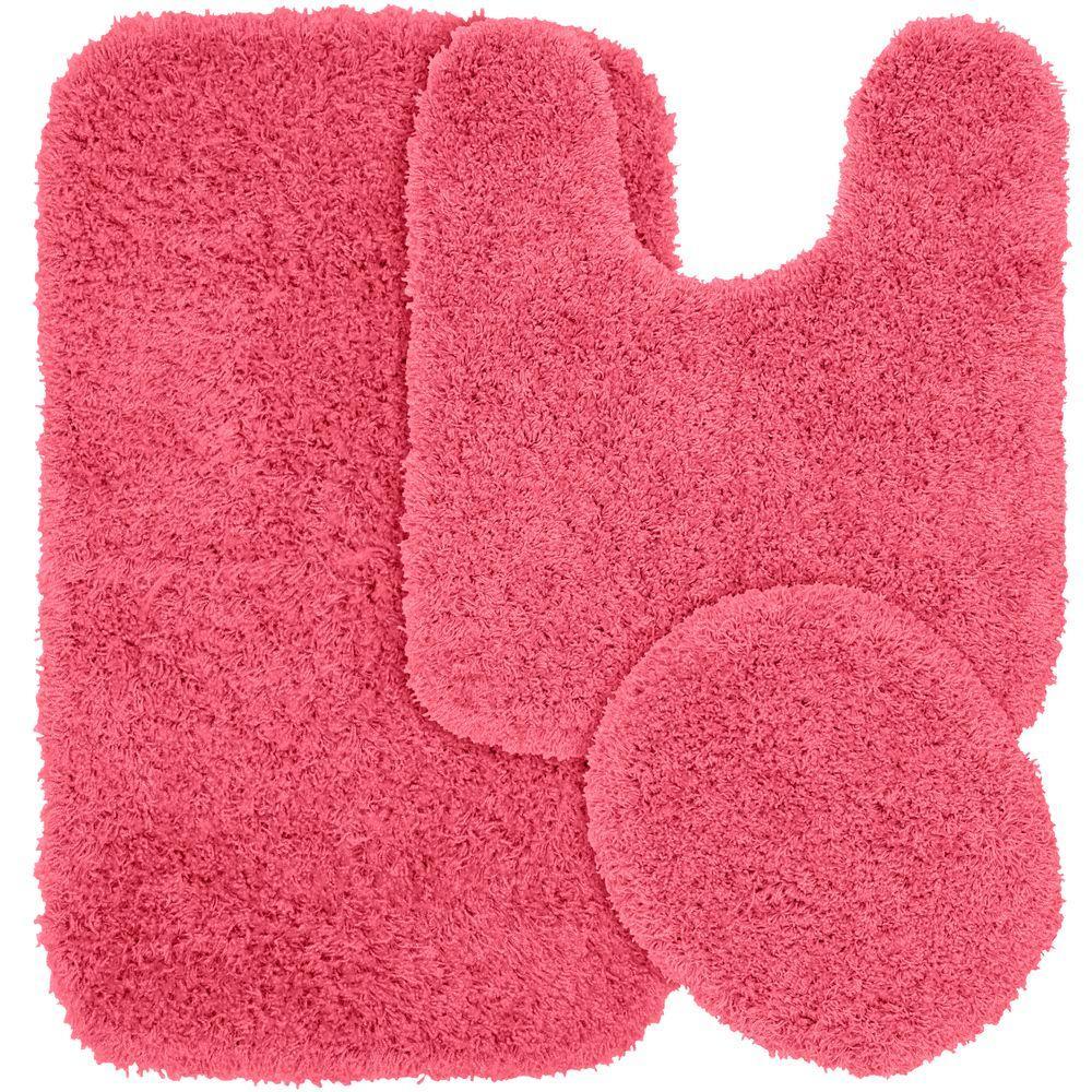 Jazz Pink 21 in. x 34 in. Washable Bathroom 3-Piece Rug Set