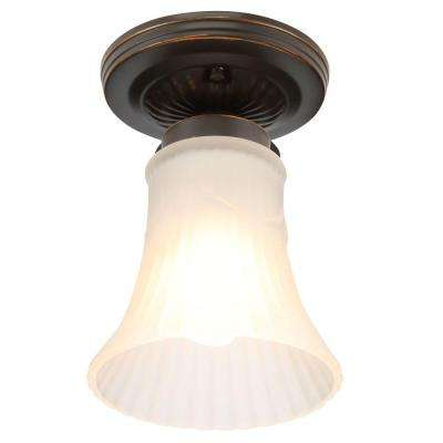 1-Light Oil Rubbed Bronze Flush Mount with Bell Shaped White Glass Shade