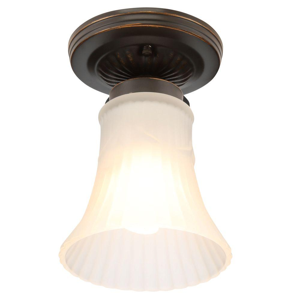 1-Light Oil Rubbed Bronze Flushmount with Bell Shaped White Glass Shade