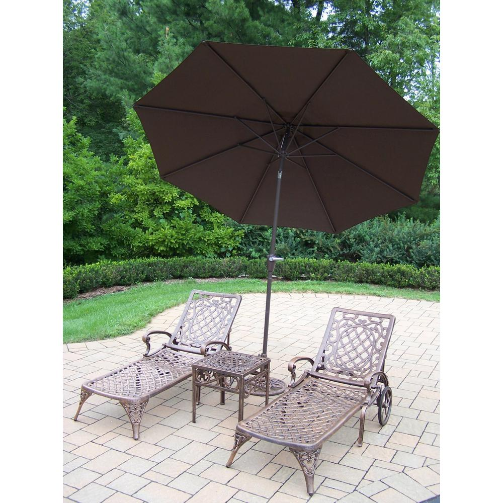 5-Piece Aluminum Outdoor Chaise Lounge Set with Brown Umbrella