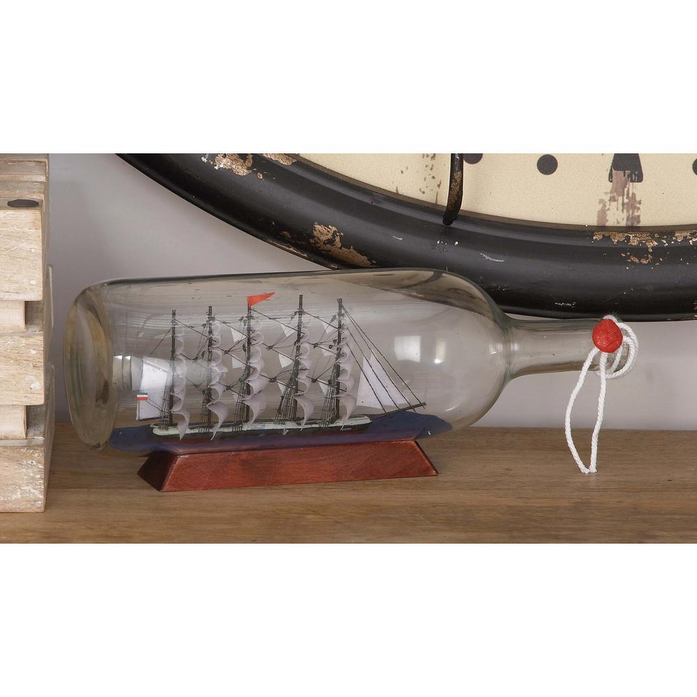 13 in. x 5 in. Nautic Ship in a Glass Bottle
