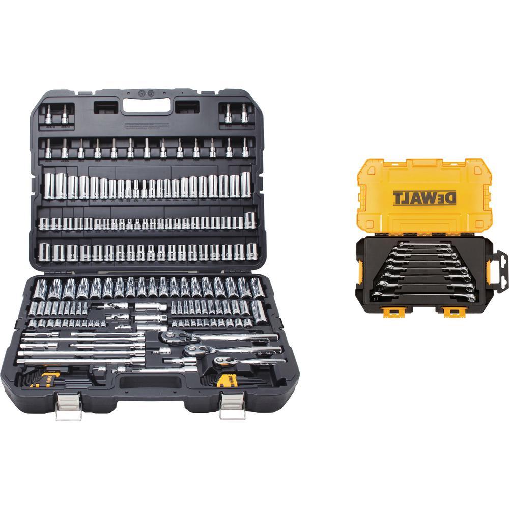 Chrome Vanadium Mechanics Tool Set (192-Piece) with SAE Combination Wrench Set (8-Piece)