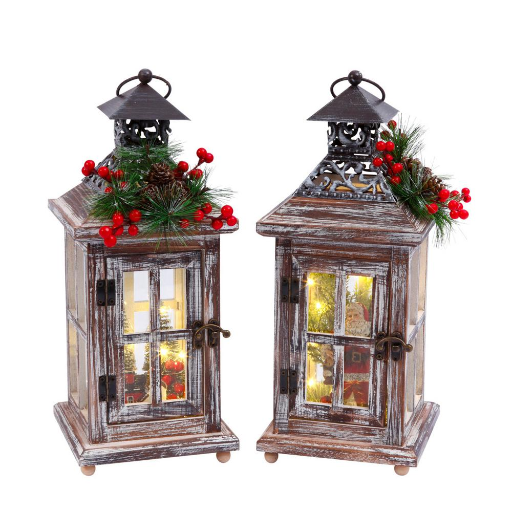 S/2 Wood Lanterns with Lighted Holiday Scenes