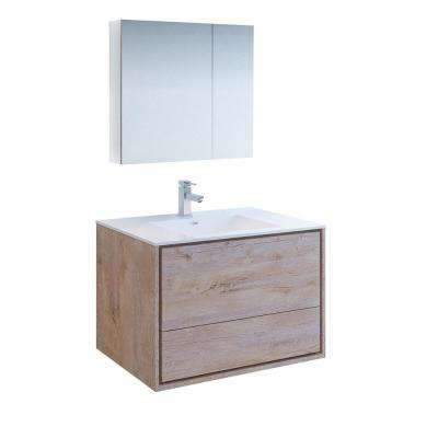 Catania 36 in. Modern Wall Hung Vanity in Rustic Natural Wood with Vanity Top in White with White Basin,Medicine Cabinet