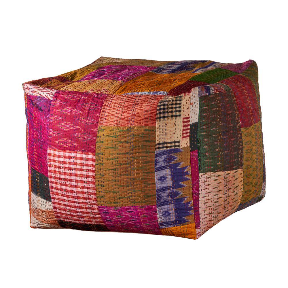 Kantha Bohemian Patchwork Multi-color Handmade Pouf