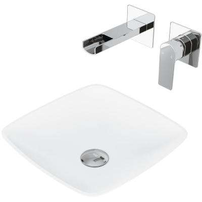 Hyacinth Matte Stone Vessel Bathroom Sink Set with Atticus Wall Mount Faucet in Chrome
