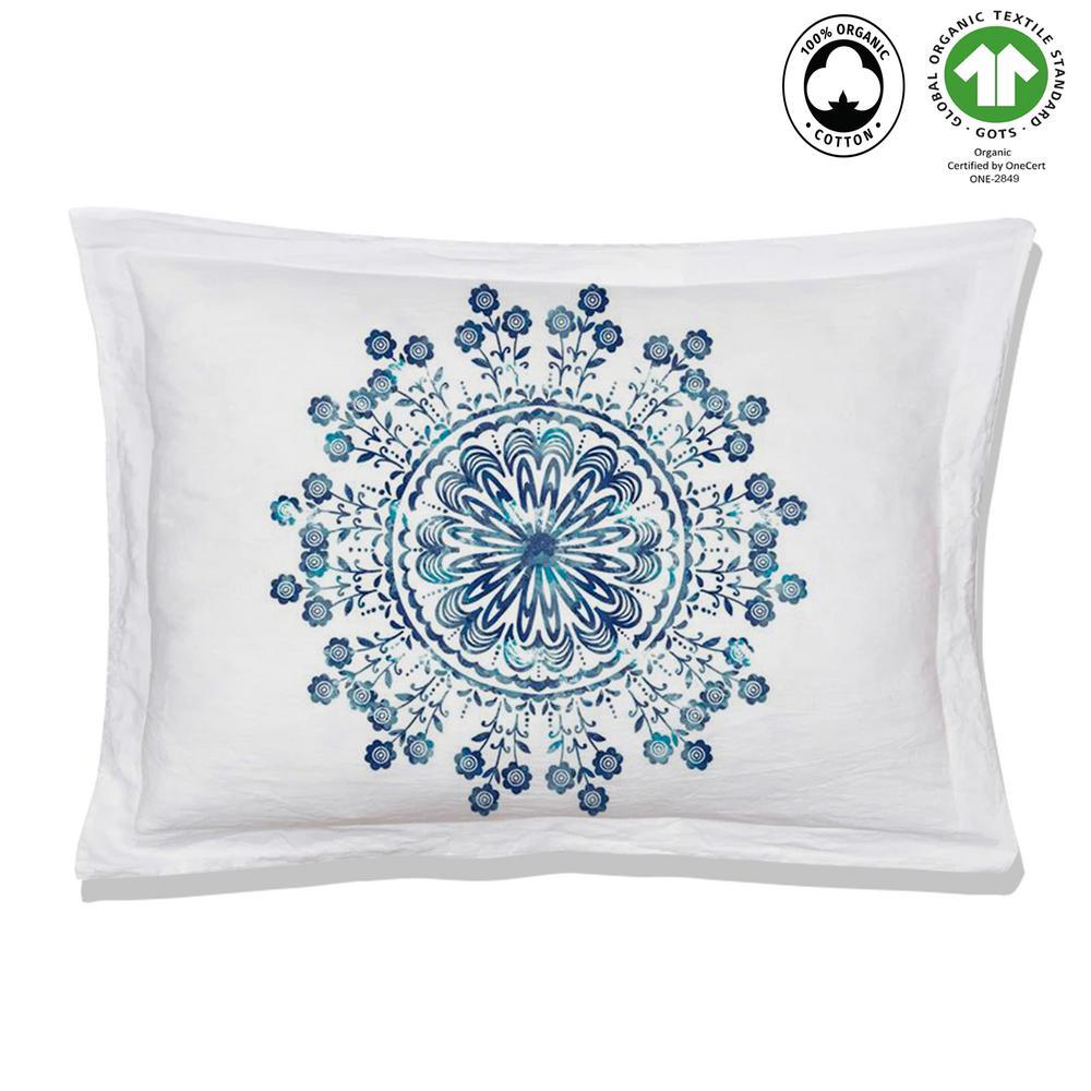 Tiffany Reversible Print Blue/White 100% Organic Cotton Queen Sham (Set of 2)