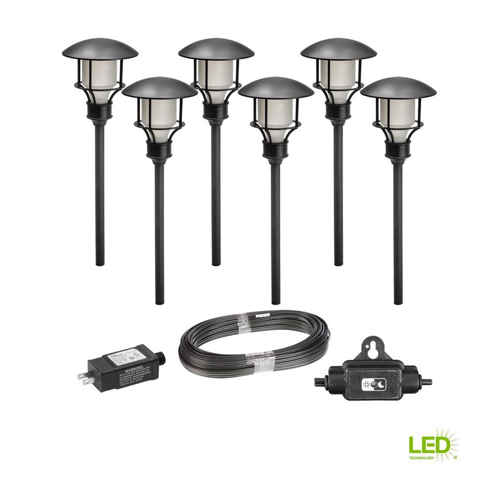 Hampton Bay Low Voltage Black Outdoor Integrated Led 3 Tier Metal Ambient Light Controlled Circuit 50 Watt Lamp Wiring Landscape Path 6 Pack Kit