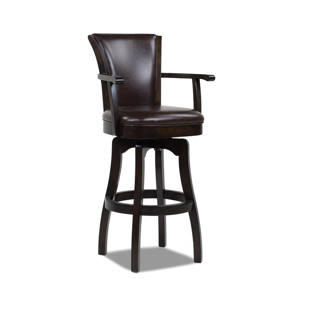 Williams 30 in. Swivel Bar Stool with Armrests, Vintage Brown Faux Leather