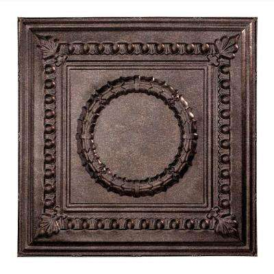 Rosette - 2 ft. x 2 ft. Lay-in Ceiling Tile in Smoked Pewter