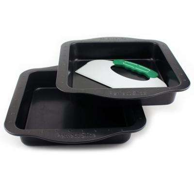 Perfect Slice 3-Piece Square Bakeware Set with Cutting Tool