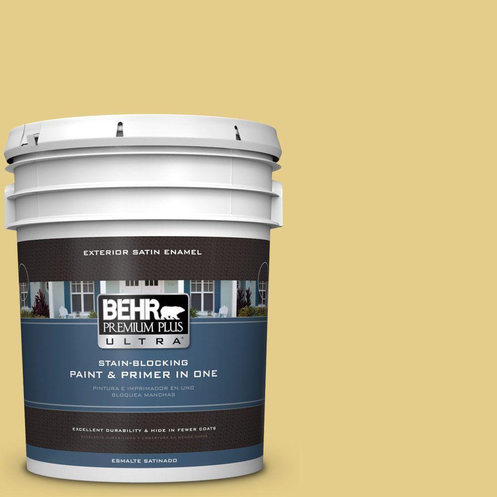 BEHR Premium Plus Ultra 5-gal. #T12-6 Lol Yellow Satin Enamel Exterior Paint