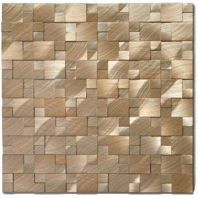 Aluminum Gear 10-3/4 in. x 11-7/8 in. x 9.5 mm Gold Metal Mosaic Wall Tile (8.87 sq. ft. / case)