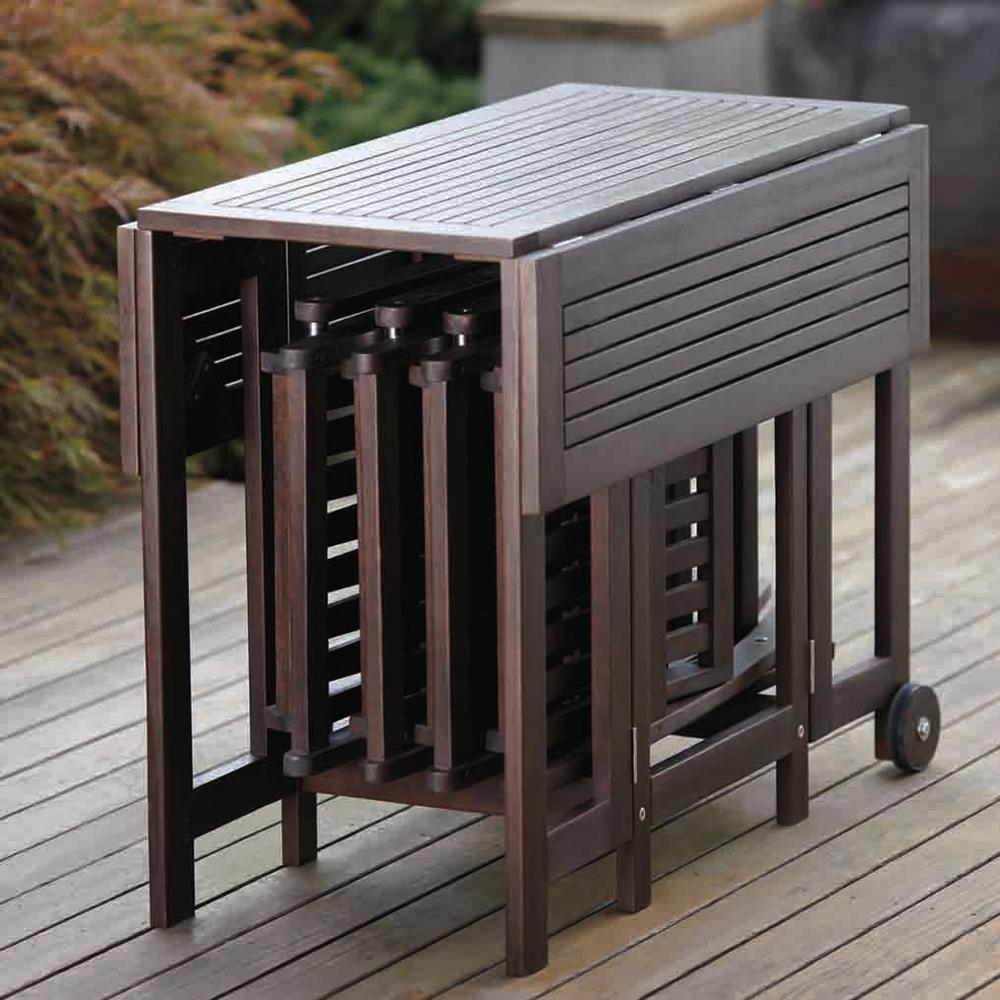 Northbeam Folding Square Eucalyptus Wood Outdoor Dining