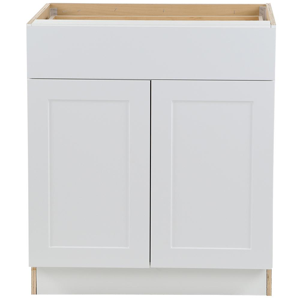 Hampton Bay Cambridge Shaker Assembled 30x34.5x24.5 in. Plywood Base Cabinet w/ 1 Soft Close Drawer & 2 Soft Close Doors in White