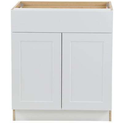 Cambridge Shaker Assembled 30x34.5x24.5 in. Plywood Base Cabinet w/ 1 Soft Close Drawer & 2 Soft Close Doors in White