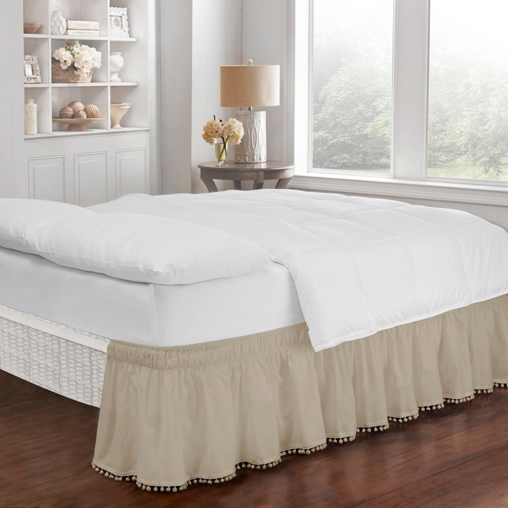 Pom Pom Camel Solid King Bed Skirt