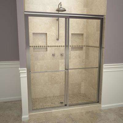 1100 Series 59 in. W x 71-1/2 in. H Framed Sliding Shower Doors in Polished Chrome with Towel Bars and Clear Glass