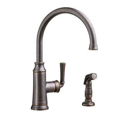 Portsmouth High-Arc Single-Handle Standard Kitchen Faucet with Side Sprayer in Oil Rubbed Bronze