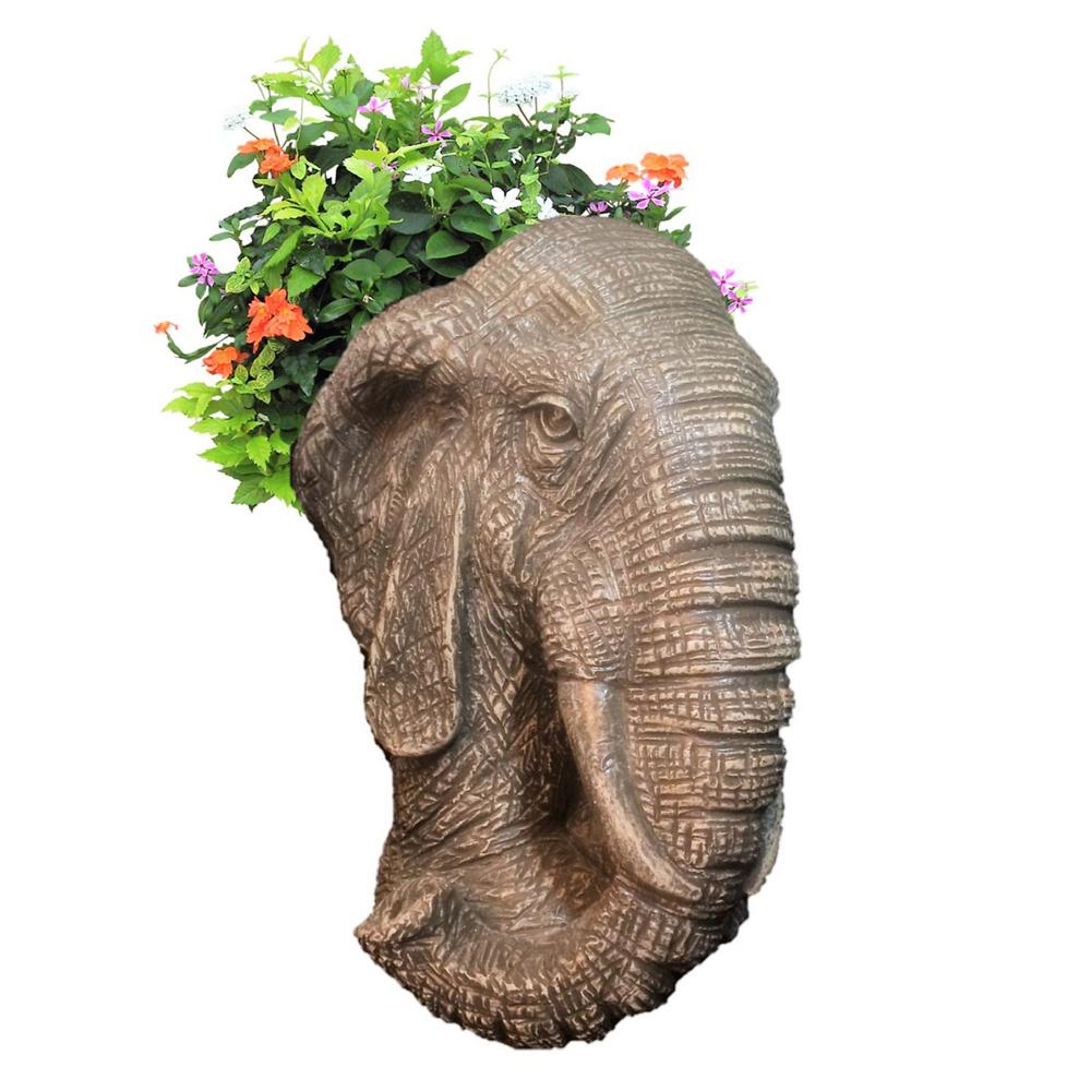 8.5 in. Graystone Elephant Muggly Mascot Animal Statue Planter Holds 3