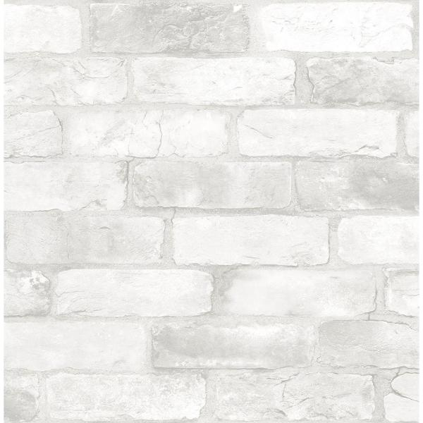Brewster White Reclaimed Bricks Rustic Wallpaper