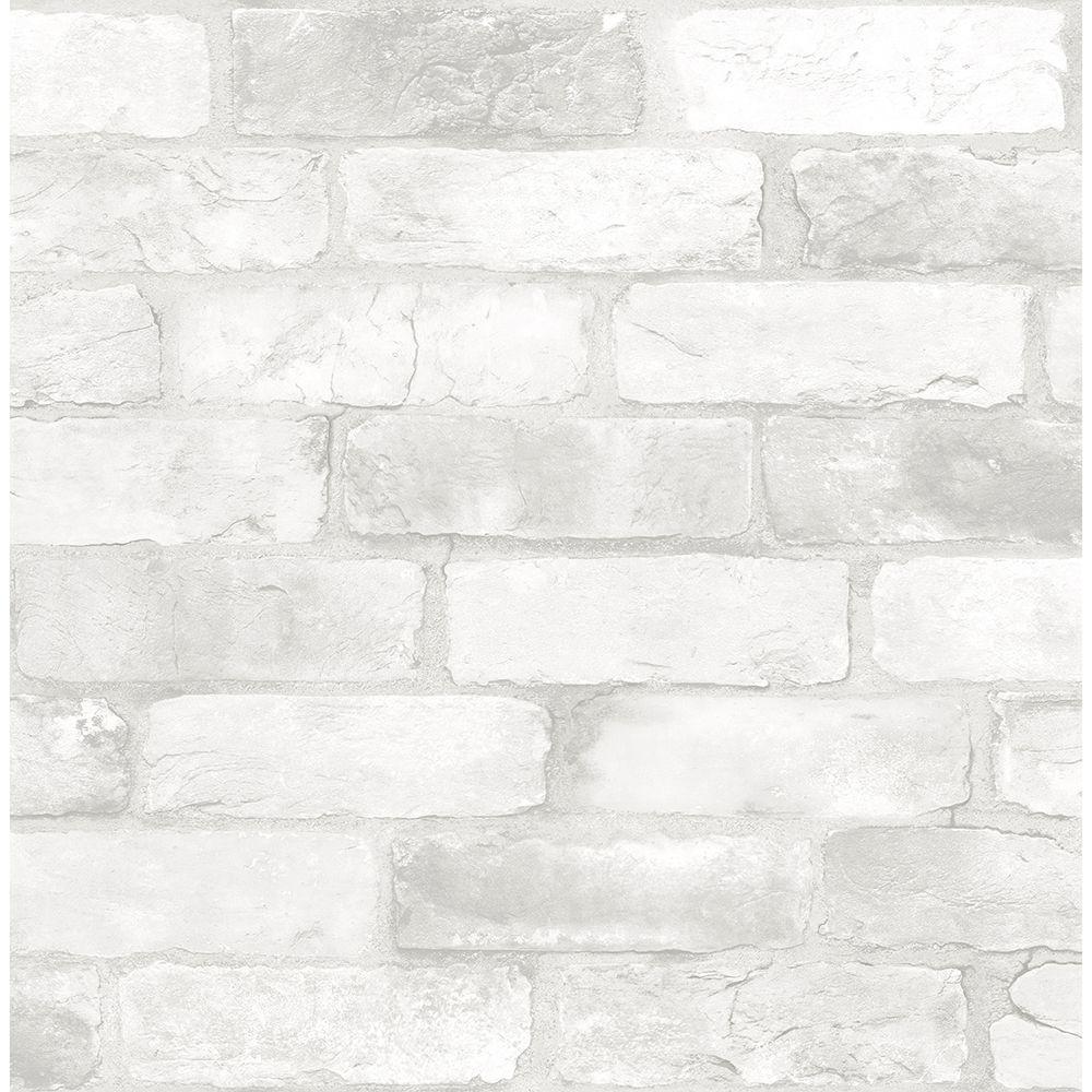 Brewster White Reclaimed Bricks Rustic Wallpaper Sample 2701-22321SAM