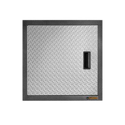 Premier Series Pre-Assembled 24 in. H x 24 in. W x 12 in. D Steel Garage Wall Cabinet in Silver Tread
