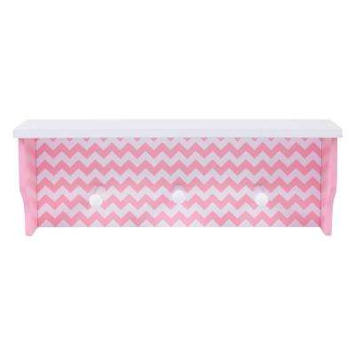 Pink Chevron 18 in. W x 5 in. D Decorative Wall Shelf