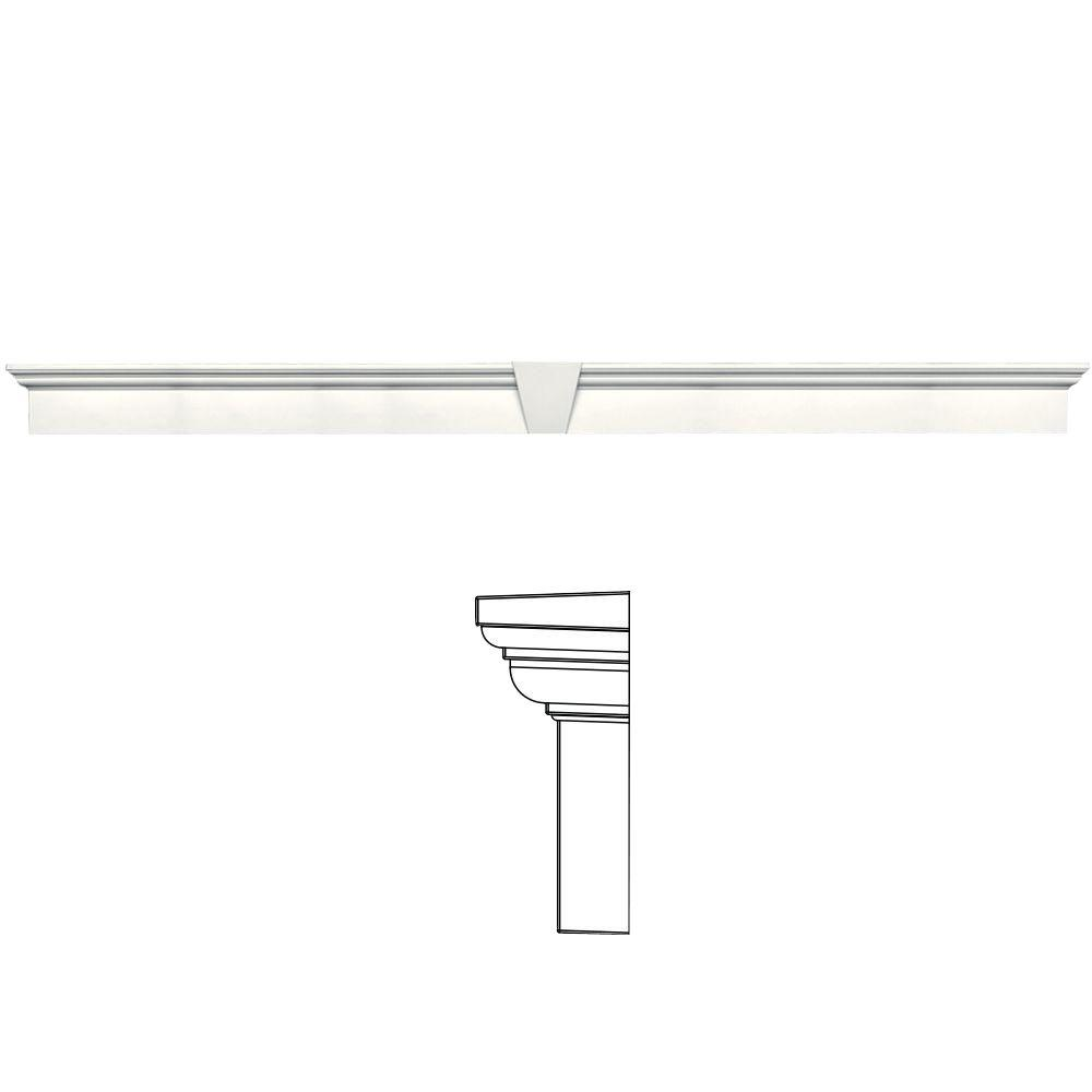 Builders Edge 9 in. x 128 in. Flat Panel Window Header with Keystone in 123 White