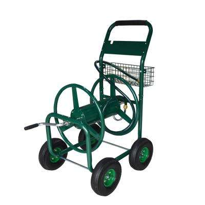 300 ft. Capacity Outdoor Water Hose Reel Cart with Steel Mesh Basket