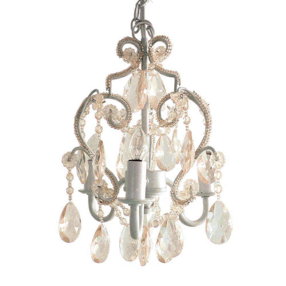 3-Light White Diamond Mini Chandelier