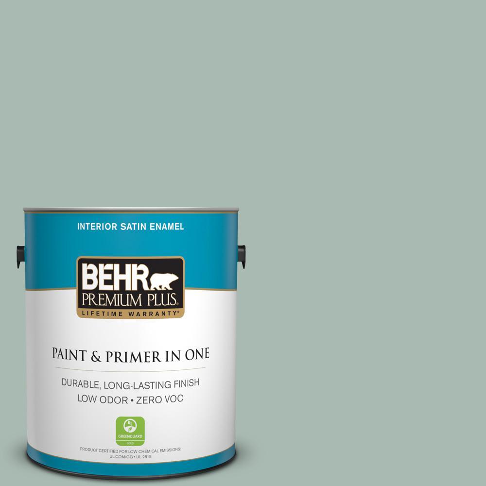 BEHR Premium Plus 1-gal. #BXC-85 Quiet Teal Satin Enamel Interior Paint