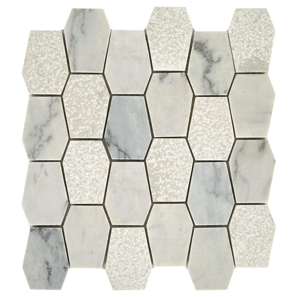 Daltile Restore Dove Mixed Finish 11 in. x 12 in. x 8mm Marble Mosaic Floor and Wall Tile (0.87 sq. ft./ piece)