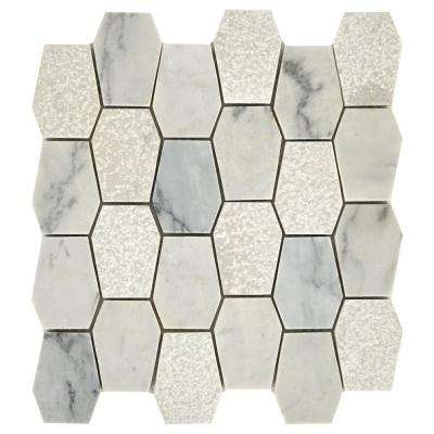 Restore Dove Mixed Finish 11 in. x 12 in. x 8mm Marble Mosaic Floor and Wall Tile (0.87 sq. ft./ piece)