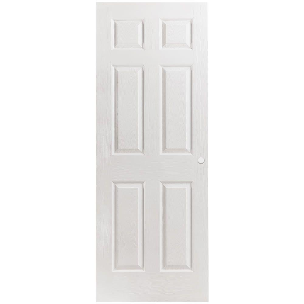 Masonite 28 in. x 80 in. Primed Textured 6-Panel Hollow Core Composite Interior Door Slab with Bore