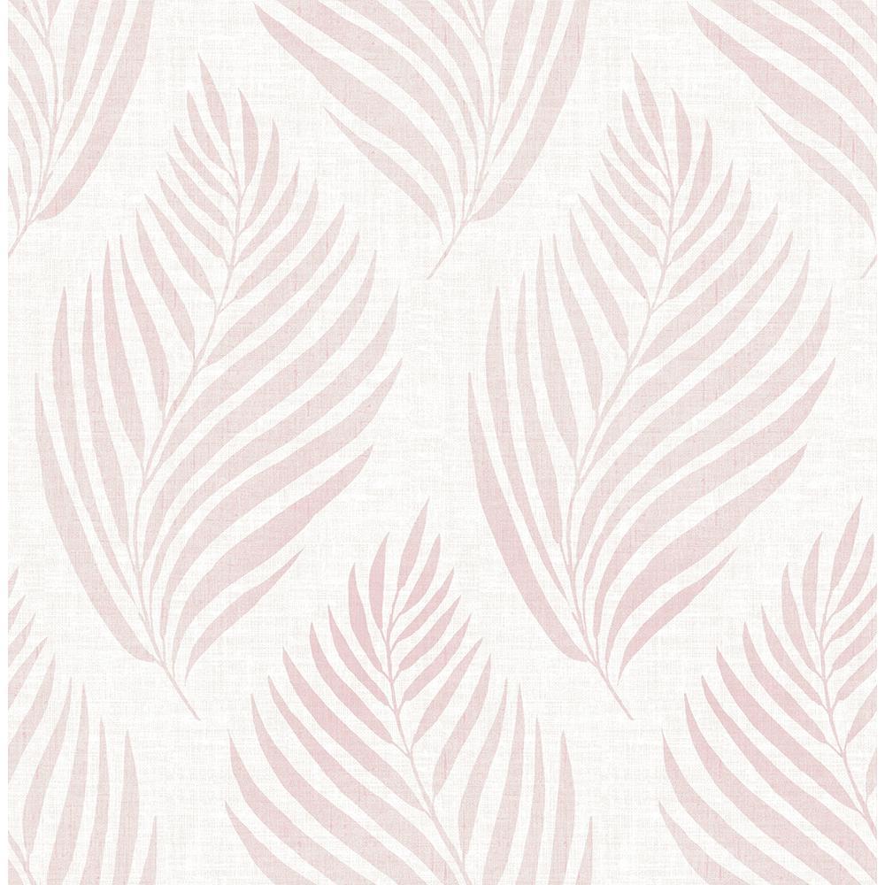 Patrice Pink Linen Leaf Wallpaper