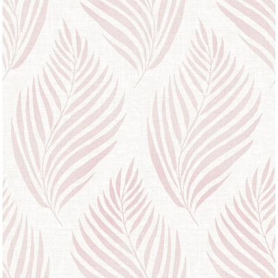 Patrice Pink Linen Leaf Paper Strippable Wallpaper (Covers 56.4 sq. ft.)