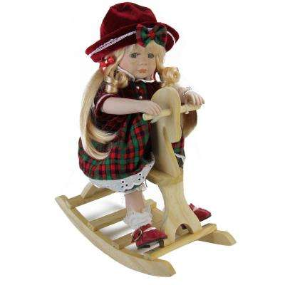 17.5 in. Porcelain Jamie on Wooden Rocking Horse Collectible Christmas Doll