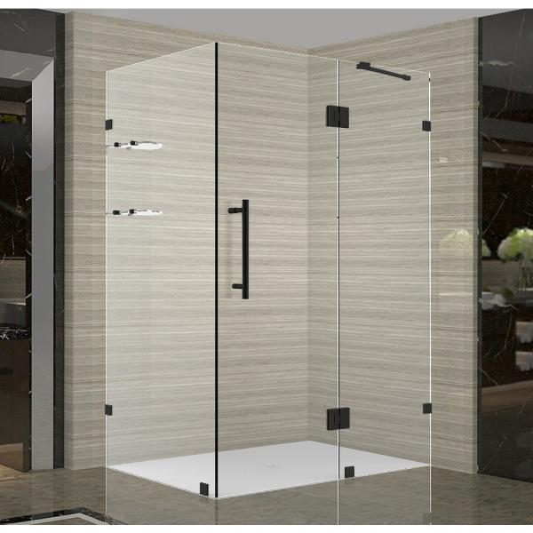 Aston Avalux Gs 34 In X 34 In X 72 In Frameless Corner Hinged Shower Enclosure With Glass Shelves In Matte Black Sen992 Mb 3434 10 The Home Depot