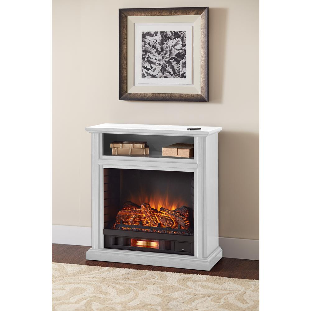 Hampton Bay Ansley 32 In Rolling Mantel Infrared Electric Fireplace In White 25 805 50 The