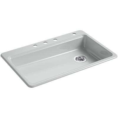 Riverby Drop-In Cast Iron 33 in. 4-Hole Single Bowl Kitchen Sink in Ice Grey