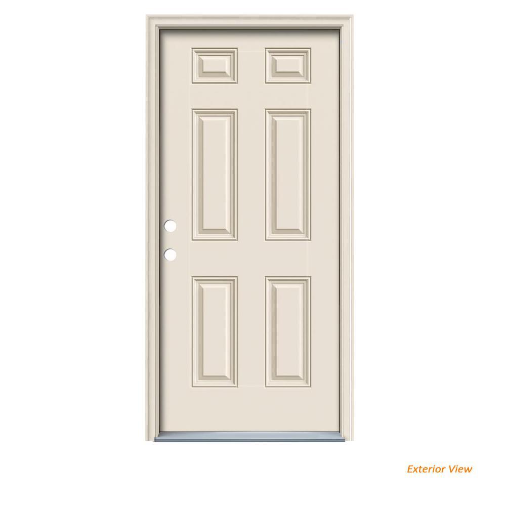 JELD-WEN 36 in. x 80 in. 6-Panel Primed Fiberglass Prehung Right-Hand Inswing Front Door w/ Brickmould